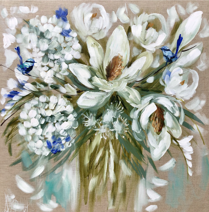 (CreativeWork) Delicate hydrangea and magnolia  by Amanda Brooks. acrylic-painting. Shop online at Bluethumb.