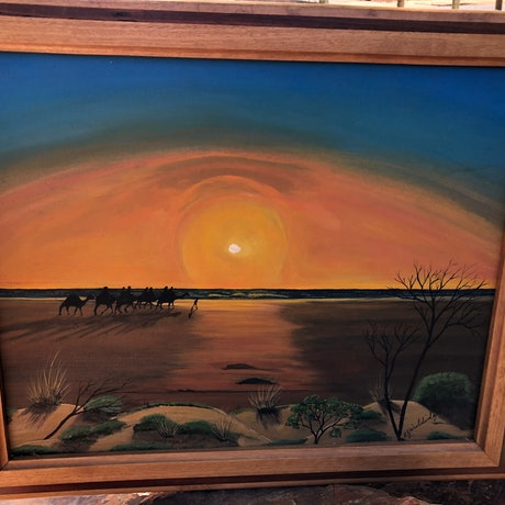 (CreativeWork) Sunset on Cable Beach,  Broome West Kimberley  by ROBERT Wooldridge. Acrylic Paint. Shop online at Bluethumb.