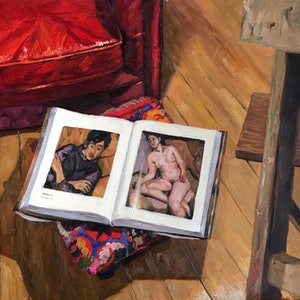 (CreativeWork) Still life with a book by James Needham. oil-painting. Shop online at Bluethumb.