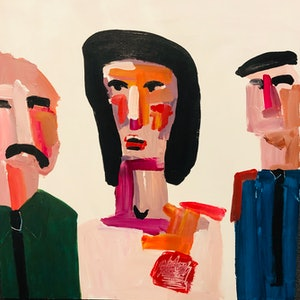 (CreativeWork) Lindy and the policemen by Sharon Monagle. arcylic-painting. Shop online at Bluethumb.