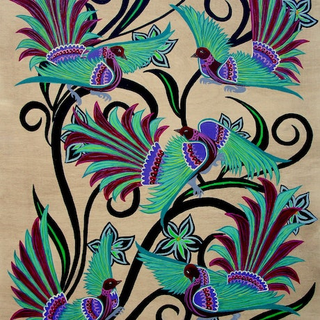 (CreativeWork) Birds and Blooms (No.5) by Lisa Dangerfield. Acrylic Paint. Shop online at Bluethumb.
