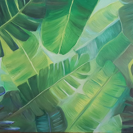 (CreativeWork) Banana leaf  by Keanna-Belle Sacilotto. Oil Paint. Shop online at Bluethumb.