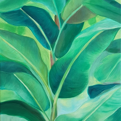 (CreativeWork) Leafy Greens by Keanna-Belle Sacilotto. Oil Paint. Shop online at Bluethumb.