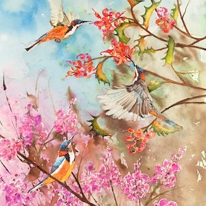 (CreativeWork) Spring is Here (Australian Spinebills) by Michael Giddens. watercolour. Shop online at Bluethumb.