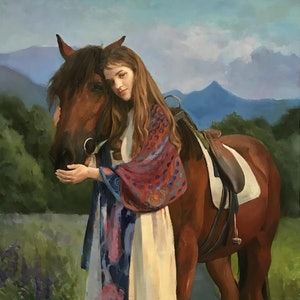 (CreativeWork) Horse by Li Zhang. oil-painting. Shop online at Bluethumb.