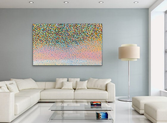 (CreativeWork) Sunrise Petals   by Theo Papathomas. Oil Paint. Shop online at Bluethumb.