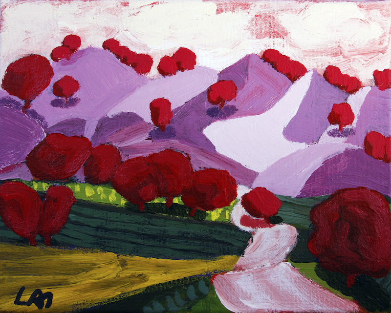 (CreativeWork) Road in the Mountains 2 by James Lai. Acrylic Paint. Shop online at Bluethumb.