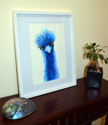 (CreativeWork) Quirky Emu  by Linda Callaghan. Watercolour Paint. Shop online at Bluethumb.