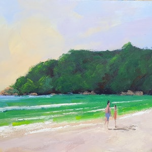 (CreativeWork) Noosa Beach Morning by Rod Moore. oil-painting. Shop online at Bluethumb.