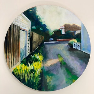 (CreativeWork) Suburban laneway by Alison Pilcher. arcylic-painting. Shop online at Bluethumb.