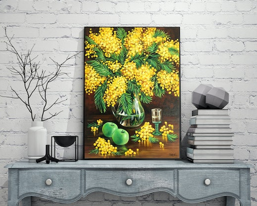 (CreativeWork) Still life with mimosas and green apples by Irina Redine. #<Filter:0x00007fbc89f753a8>. Shop online at Bluethumb.