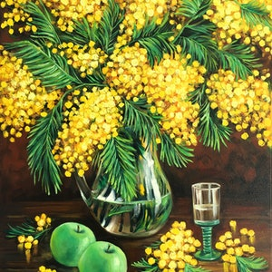 (CreativeWork) Still life with mimosas and green apples by Irina Redine. oil-painting. Shop online at Bluethumb.
