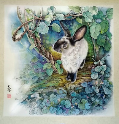 (CreativeWork) Lucky the Bunny by Doudou Huang. #<Filter:0x00007fed303e3828>. Shop online at Bluethumb.