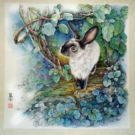 (CreativeWork) Lucky the Bunny by Doudou Huang. Drawings. Shop online at Bluethumb.