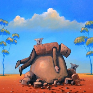 (CreativeWork) Resting Ned and angry koalas - Ned Kelly Series by Max Horst  Sokolowski. arcylic-painting. Shop online at Bluethumb.