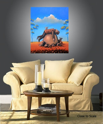 (CreativeWork) Resting Ned and angry koalas - Ned Kelly Series by Max Horst  Sokolowski. Acrylic Paint. Shop online at Bluethumb.