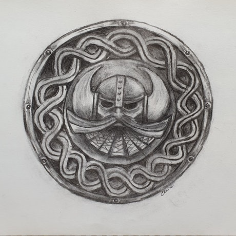 (CreativeWork) Dwarven shield by Mezma & Azzayal Laird. Drawings. Shop online at Bluethumb.