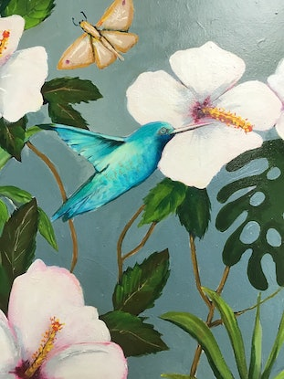 (CreativeWork) Hummingbirds by Ron Brown. Acrylic Paint. Shop online at Bluethumb.