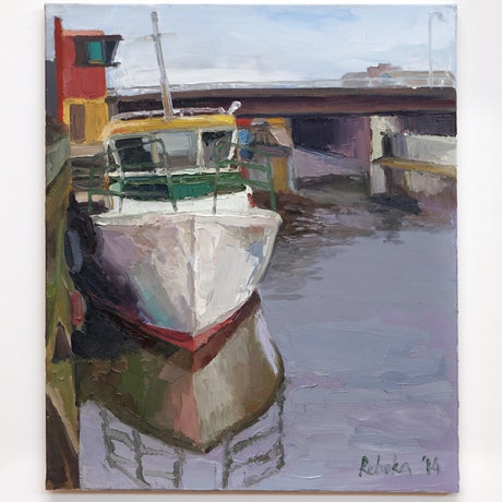 (CreativeWork) The White Boat by Rebeka Bruder. Oil Paint. Shop online at Bluethumb.