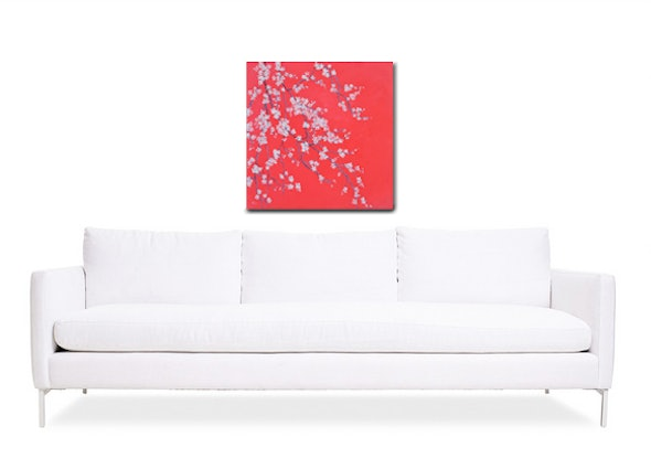 (CreativeWork) WHITE BLOSSOM ON SCARLET by Jan Matson. Oil Paint. Shop online at Bluethumb.