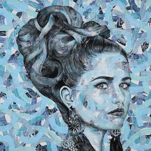 (CreativeWork) Bold in Blue by Polly Johnstone. arcylic-painting. Shop online at Bluethumb.