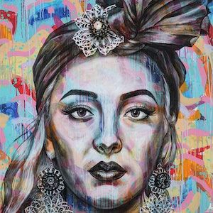 (CreativeWork) The Fortune Teller by Polly Johnstone. arcylic-painting. Shop online at Bluethumb.