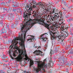 (CreativeWork) Powerful in Pink  by Polly Johnstone. #<Filter:0x00007f0bd354aa98>. Shop online at Bluethumb.