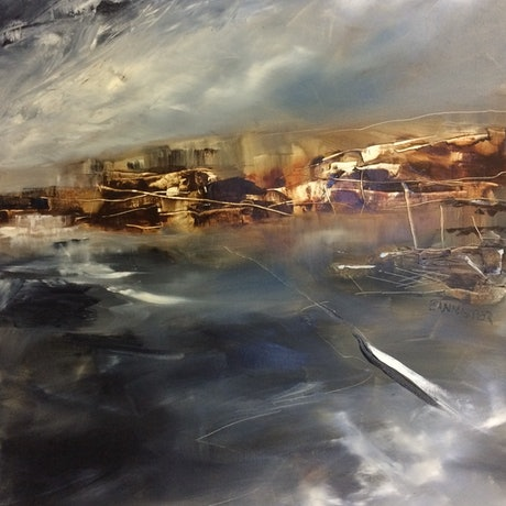 (CreativeWork) Desert storms by sue bannister. Oil Paint. Shop online at Bluethumb.
