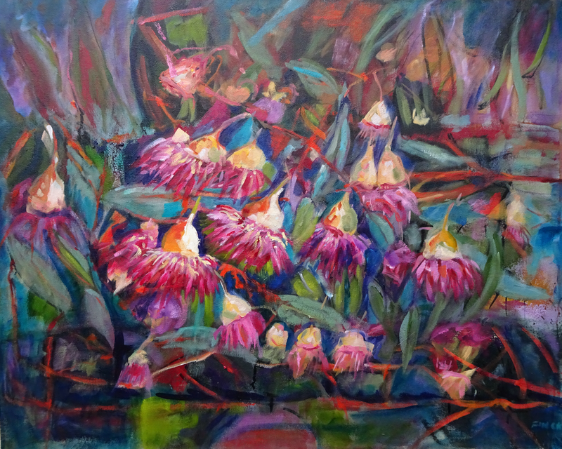 (CreativeWork) Eucalyptus Flowers by Maureen Finck. oil-painting. Shop online at Bluethumb.