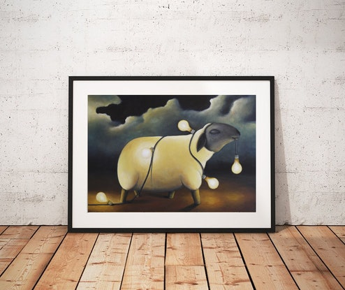 (CreativeWork) Party Sheep - Limited Edition Print Ed. 6 of 250 by Tank .. Print. Shop online at Bluethumb.
