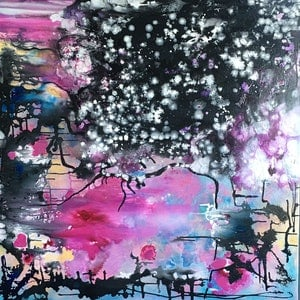 (CreativeWork) Cherry Blossom  by helene hardy. acrylic-painting. Shop online at Bluethumb.