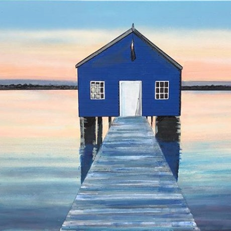 (CreativeWork) Blue Boat House  by olivia Robinson. Acrylic Paint. Shop online at Bluethumb.