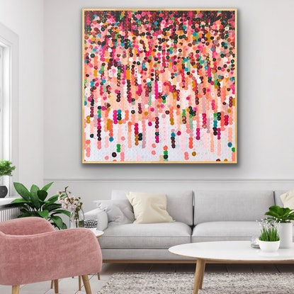 (CreativeWork) Floret 122x122 framed large abstract by Sophie Lawrence. #<Filter:0x00007f00ec2618c8>. Shop online at Bluethumb.