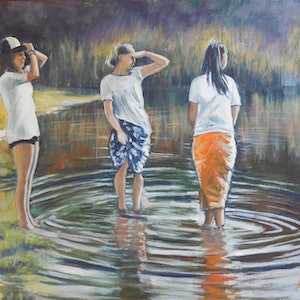 (CreativeWork) Sirens in the Lake by Anne Strambi. oil-painting. Shop online at Bluethumb.