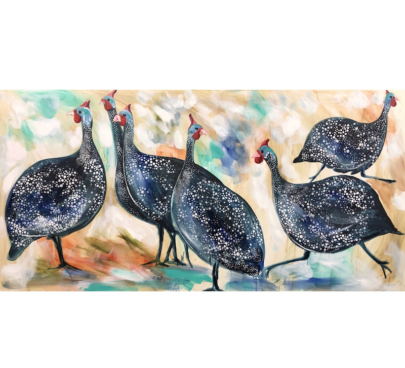 (CreativeWork) grassland guinea fowls by Amanda Brooks. arcylic-painting. Shop online at Bluethumb.