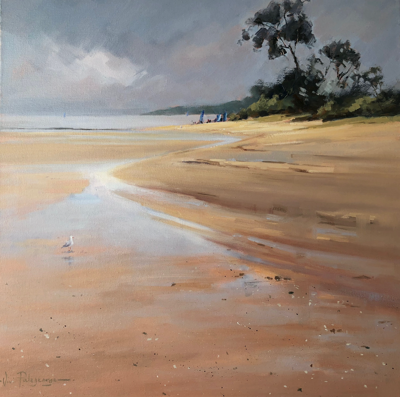 (CreativeWork) A quiet moment at Ricketts Point. by Vivi Palegeorge. oil-painting. Shop online at Bluethumb.