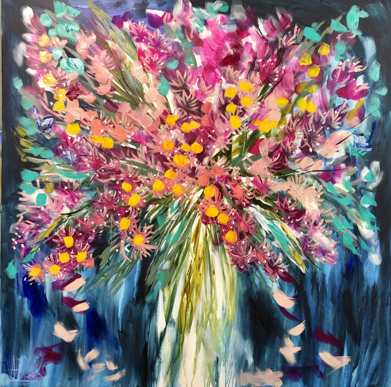 (CreativeWork) Blossoming eucalyptus  by Amanda Brooks. arcylic-painting. Shop online at Bluethumb.