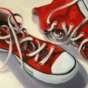 (CreativeWork) Red shoes by maria radun. oil-painting. Shop online at Bluethumb.