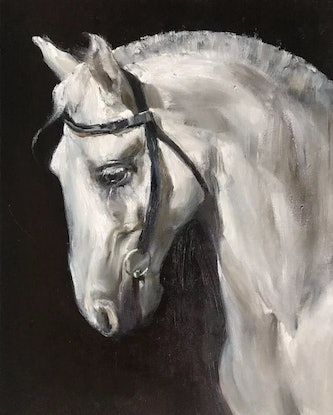 (CreativeWork) White Horse by Li Zhang. Oil Paint. Shop online at Bluethumb.