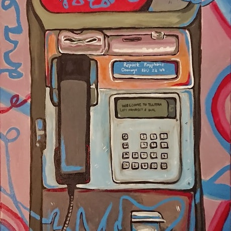 (CreativeWork) Telstra Phone Box  by Rebecca Read. Acrylic Paint. Shop online at Bluethumb.