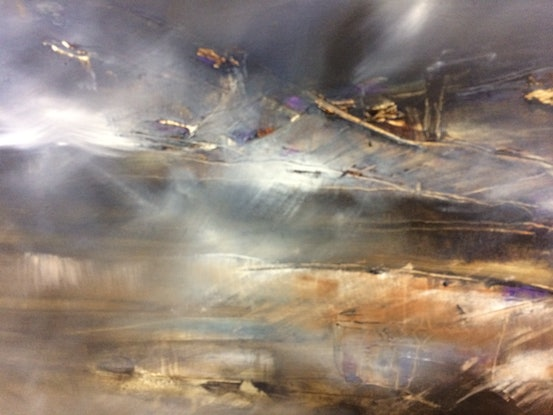 (CreativeWork) Misty bay evening  by sue bannister. Oil Paint. Shop online at Bluethumb.