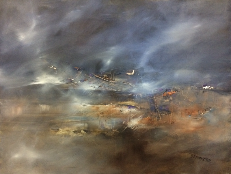 (CreativeWork) Misty bay evening  by sue bannister. oil-painting. Shop online at Bluethumb.