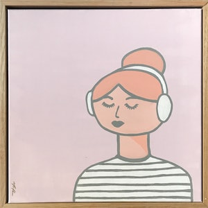 (CreativeWork) Isla Listens To Music by Marnie McKnight. arcylic-painting. Shop online at Bluethumb.