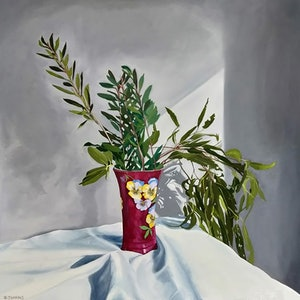 (CreativeWork) The eldest daughters vase by Sandra Jenkins. Oil Paint. Shop online at Bluethumb.