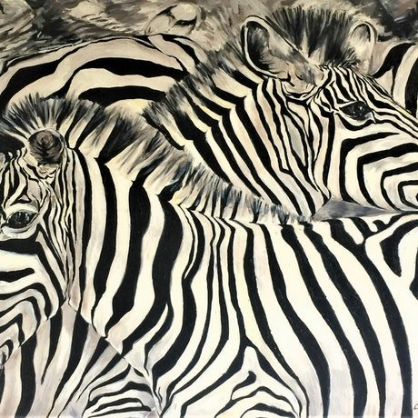 (CreativeWork) Zebra Crossing by cara page. Oil Paint. Shop online at Bluethumb.
