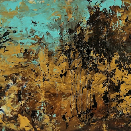 (CreativeWork) Abstract  - Australian Outback - Golden Glow Under The Blue Sky by Maria Cross. Acrylic Paint. Shop online at Bluethumb.