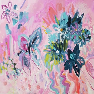 (CreativeWork) Flower Market by Kate Pittas. arcylic-painting. Shop online at Bluethumb.