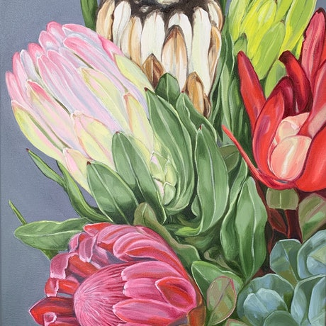 (CreativeWork) A Plethora of Proteas - FRAMED by Alicia Cornwell. Oil Paint. Shop online at Bluethumb.
