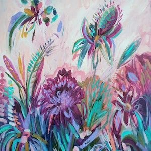 (CreativeWork) Flowers for all the dreamers by Kate Pittas. arcylic-painting. Shop online at Bluethumb.