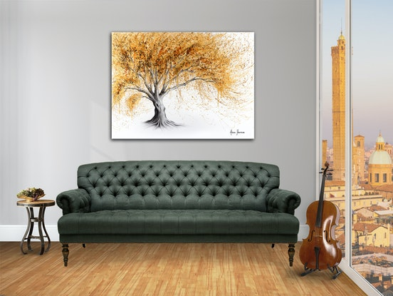 (CreativeWork) Golden Glow Tree by Ashvin Harrison. #<Filter:0x000055934179dd60>. Shop online at Bluethumb.